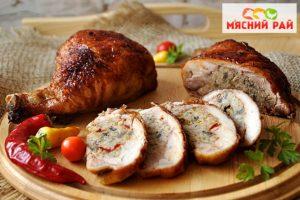 Фаршированный куриный окорок в духовке