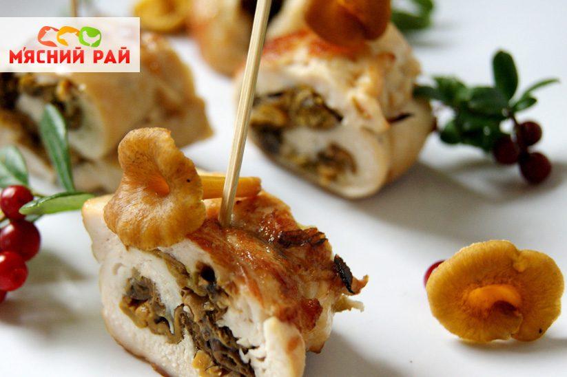 Куриные рулетики с грибами и сыром в духовке