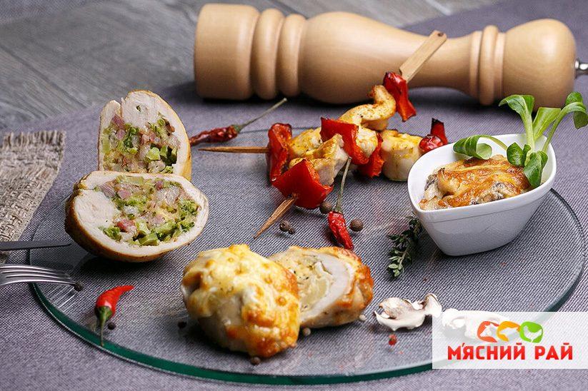 Рулетики из куриного филе с грибами и сыром