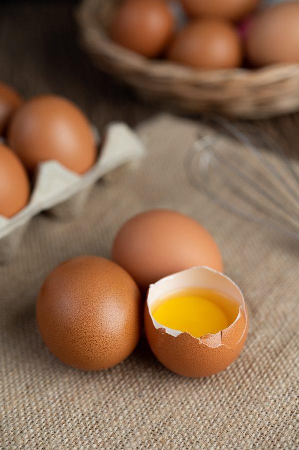 Eggs on the floor of hemp sacks